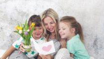 Happy Family - Children congratulate on Mother's Day