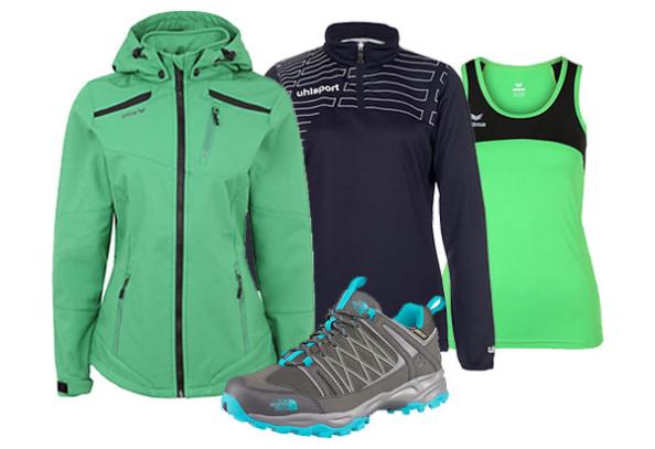 Softshelljacke, Wanerschuhe und Sportshirts