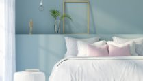 3D illustration. Interior of a modern bedroom in white and blue color