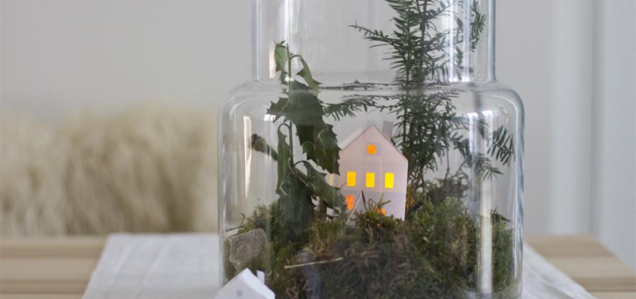 Winterlandschaft Deko im Glas